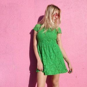 Urban Outfitters Kelley Green Lace Dress Sz Small